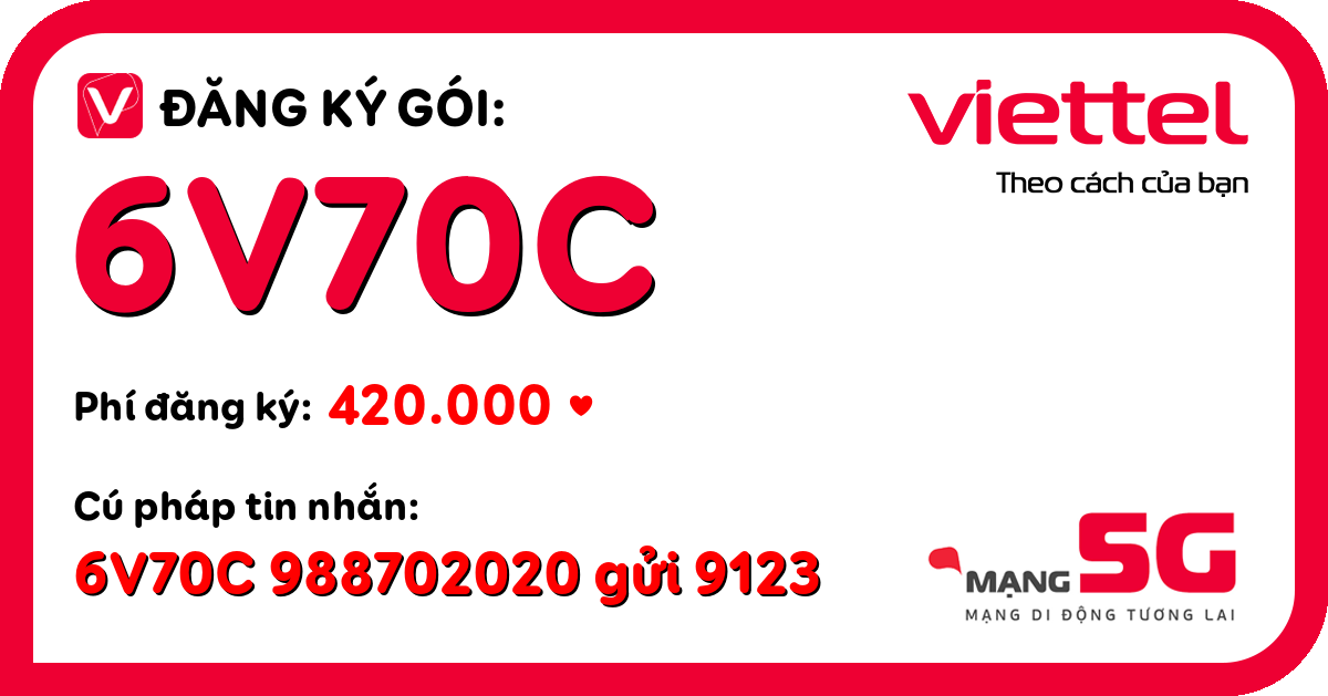 Đăng ký gói 6v70c viettel