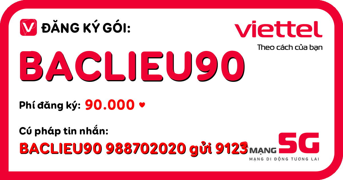 Đăng ký gói baclieu90 viettel