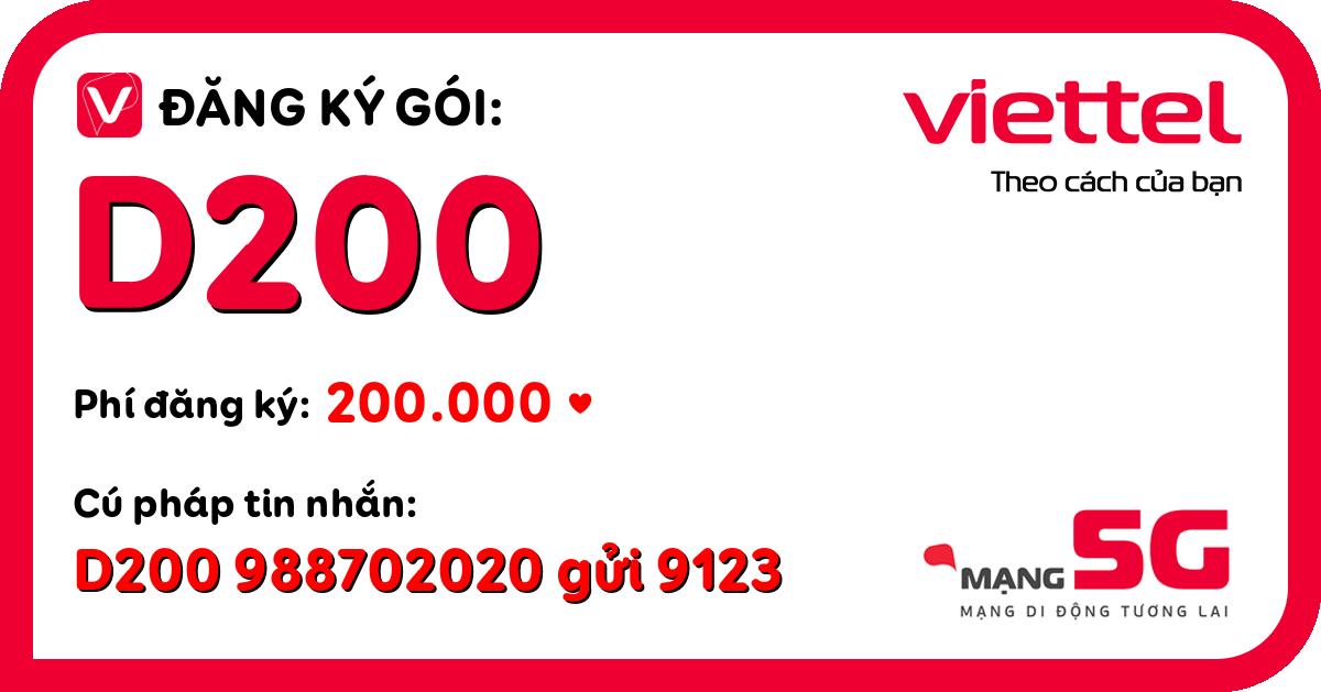 Đăng ký gói d200 viettel