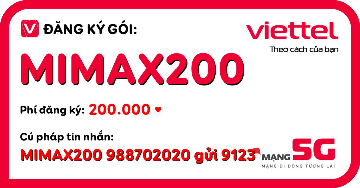 Đăng ký gói mimax200 viettel