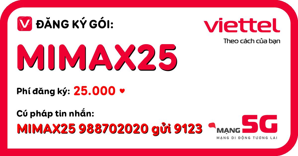 Đăng ký gói mimax25 viettel