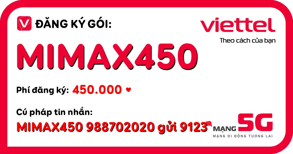 Đăng ký gói mimax450 viettel