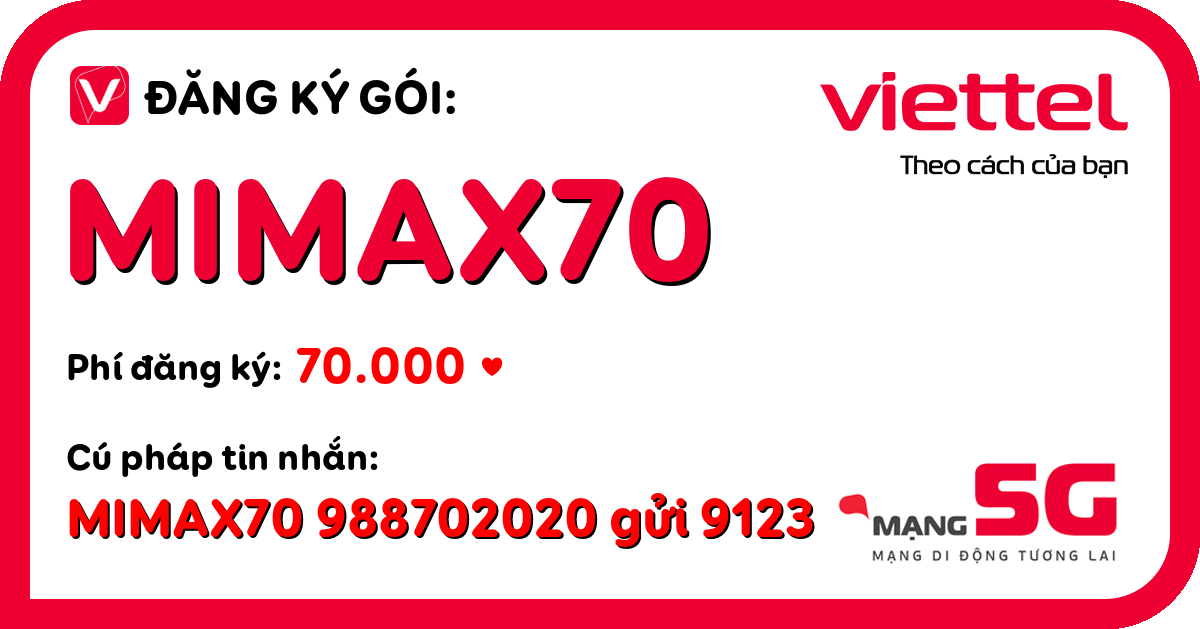 Đăng ký gói mimax70 viettel