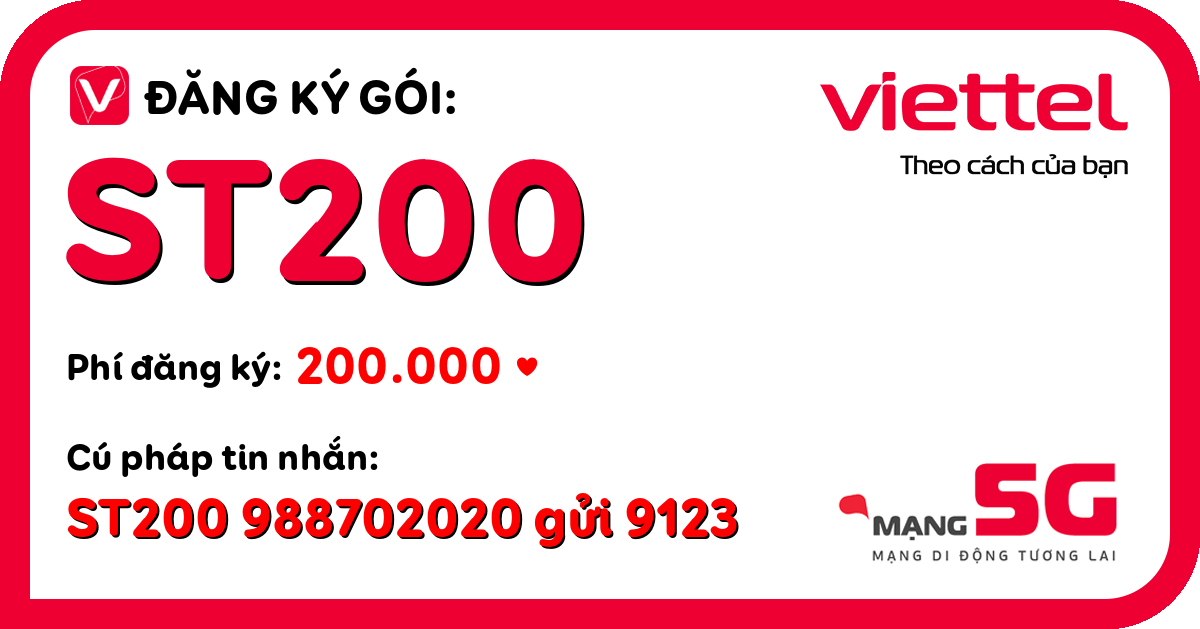 Đăng ký gói st200 viettel