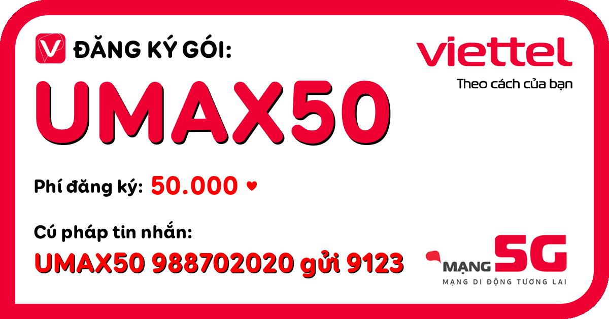 Đăng ký gói umax50 viettel