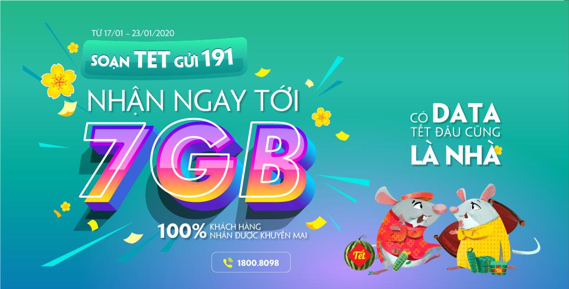 Miễn phí 7GB Data tết 2020 Viettel